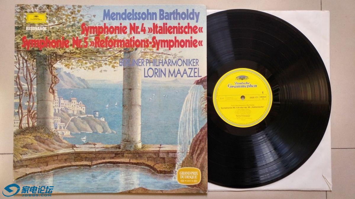 W1491-1 马泽尔 指挥柏林爱乐乐团《门德尔松 第4、5交响曲》,德国DG立体声,唱片NM-,70元.jpg