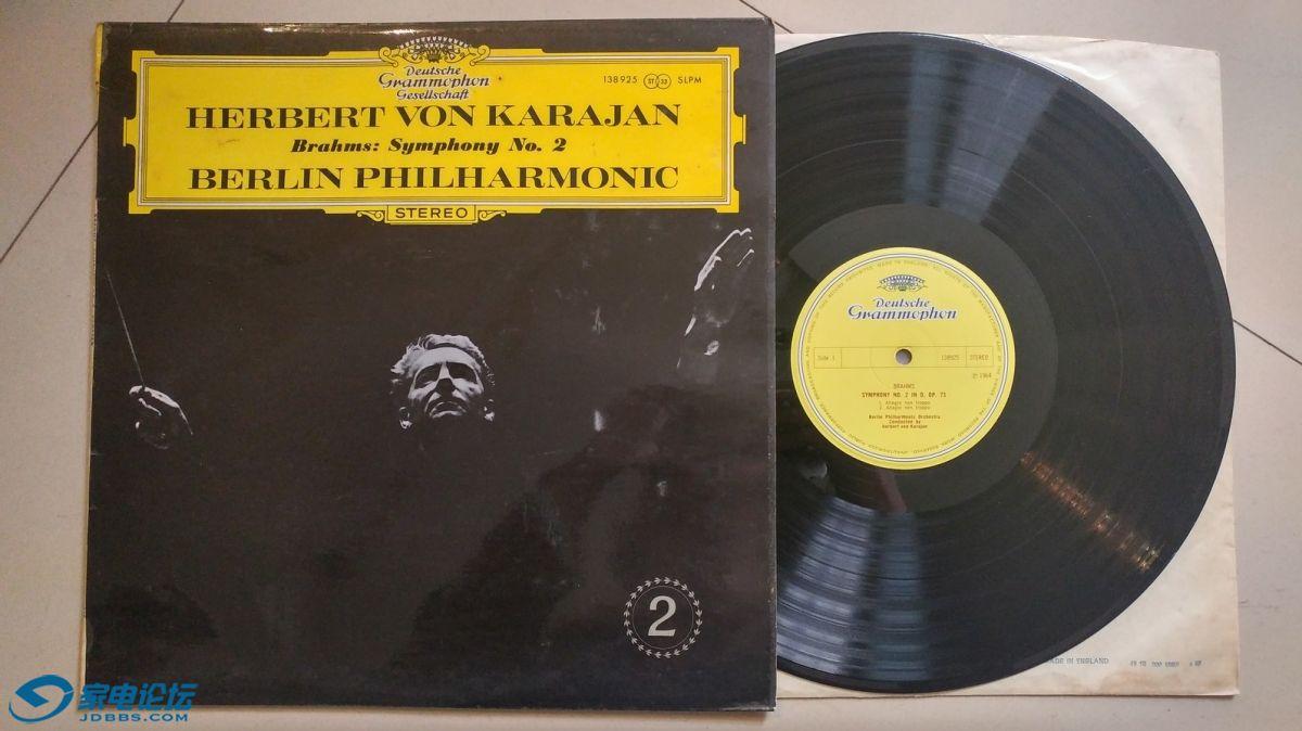 W1638-1 卡拉扬 指挥柏林爱乐乐团《勃拉姆斯 第2交响曲》,英国DG立体声,唱片NM-,80元.jpg