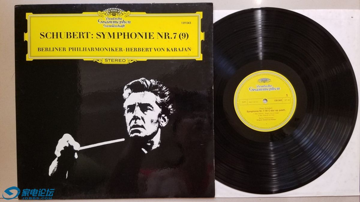 W2456-1 卡拉扬 指挥柏林爱乐乐团《舒伯特 第7交响曲》,德国DG立体声,唱片NM-,80元.jpg