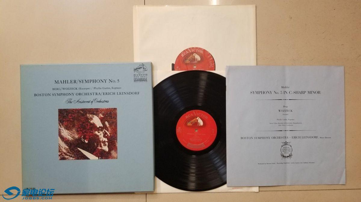 H0626-1 莱恩斯多夫 指挥波士顿交响乐团《马勒 第5交响曲》(2LP),美国RCA单声道,.jpg