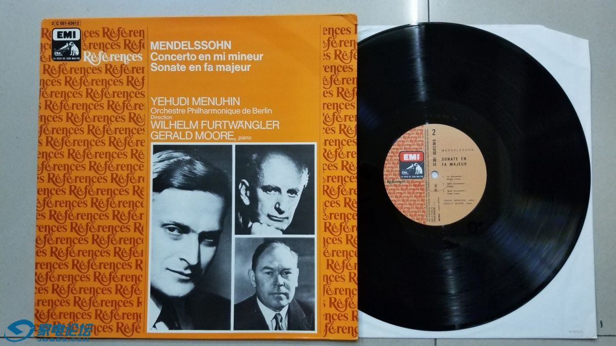 W2712-1 富特文格勒 指挥柏林爱乐乐团,梅纽因小提琴、杰拉德·摩尔 钢琴《门德尔松 .jpg