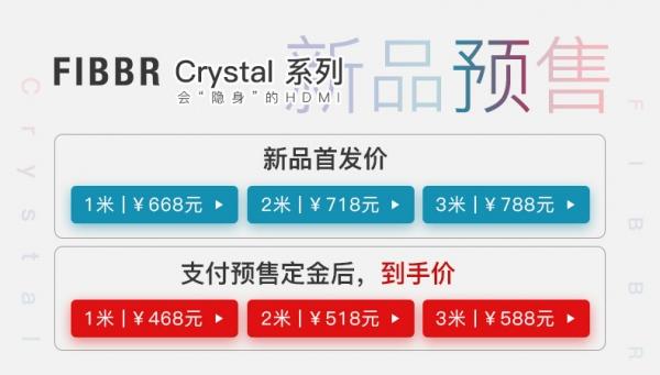 【新品预售,1元可抵10元】FIBBR菲伯尔Crystal(水晶)系列HDMI线材预售开始了!